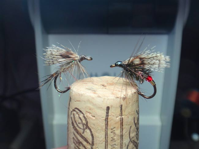wet flies tied with grouse rump feathers for wings